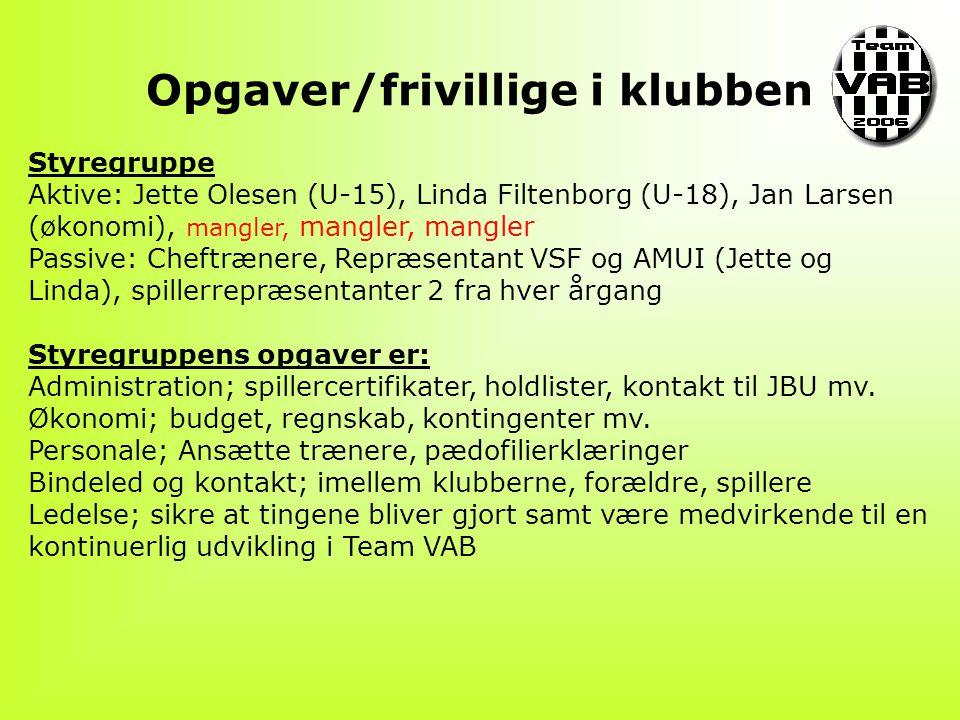 Opgaver/frivillige i klubben Styregruppe Aktive: Jette Olesen (U-15), Linda Filtenborg (U-18), Jan Larsen (økonomi), mangler, mangler, mangler Passive: Cheftrænere, Repræsentant VSF og AMUI (Jette og Linda), spillerrepræsentanter 2 fra hver årgang Styregruppens opgaver er: Administration; spillercertifikater, holdlister, kontakt til JBU mv.