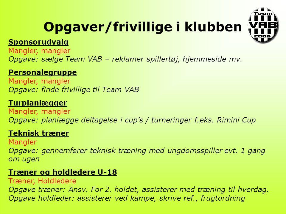 Opgaver/frivillige i klubben Sponsorudvalg Mangler, mangler Opgave: sælge Team VAB – reklamer spillertøj, hjemmeside mv.