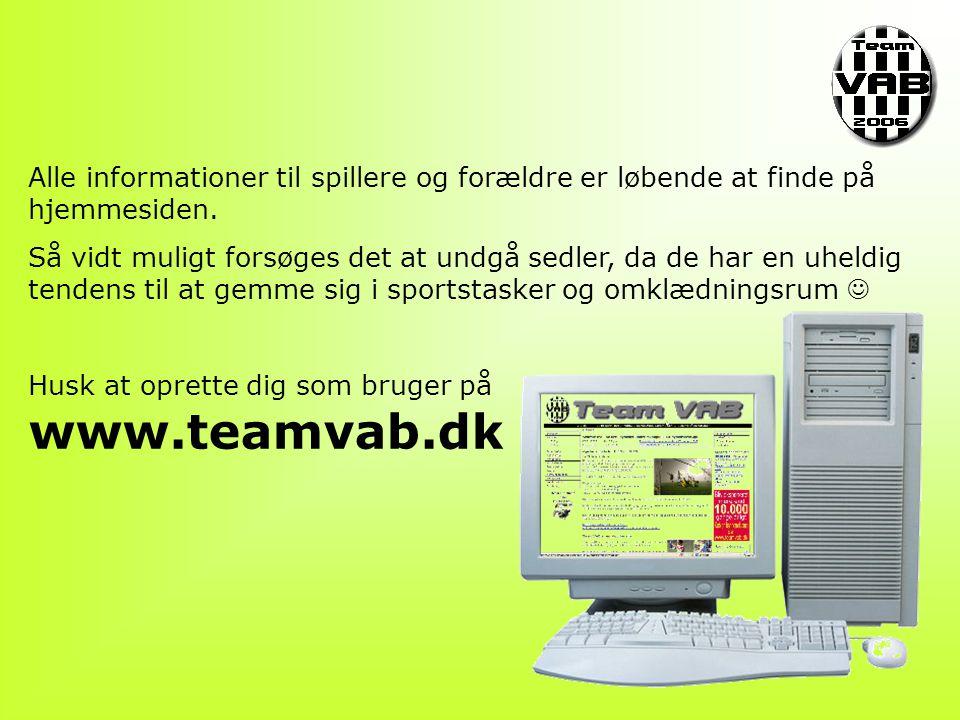Alle informationer til spillere og forældre er løbende at finde på hjemmesiden.