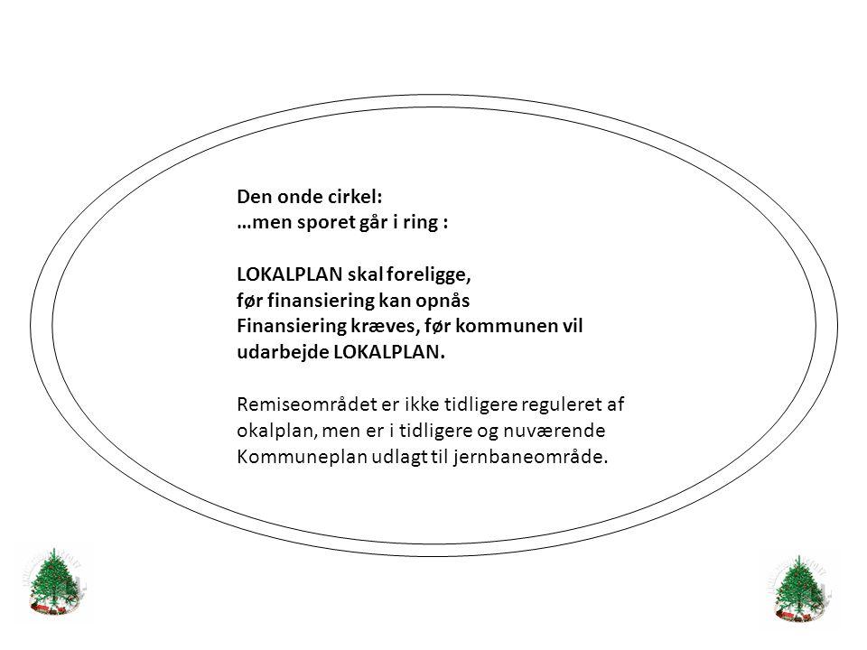 Den onde cirkel: …men sporet går i ring : LOKALPLAN skal foreligge, før finansiering kan opnås Finansiering kræves, før kommunen vil udarbejde LOKALPLAN.