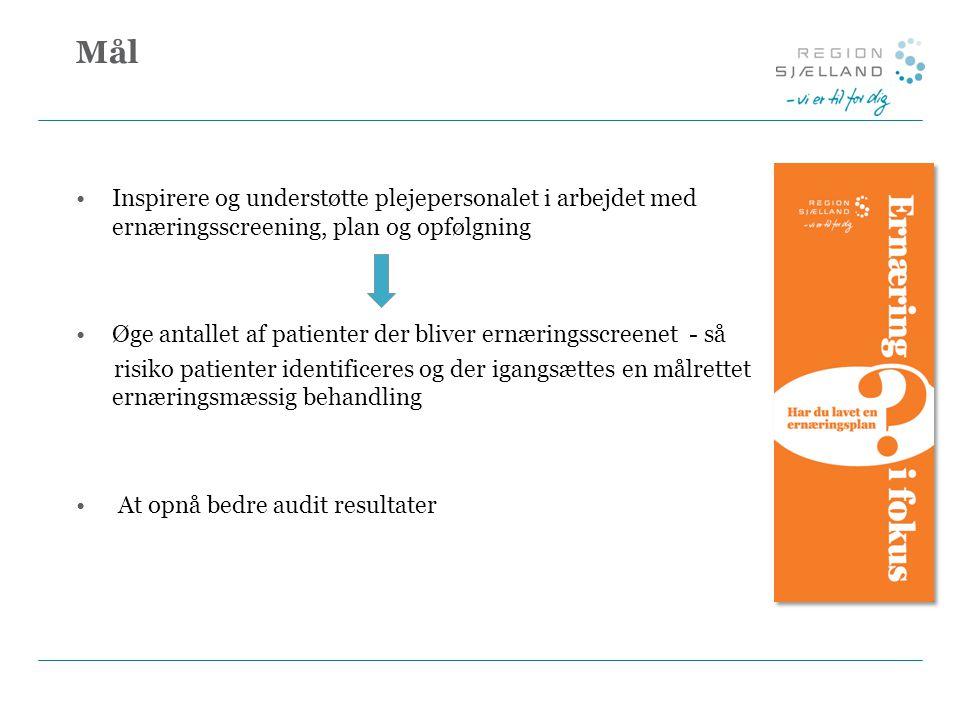 Mål Inspirere og understøtte plejepersonalet i arbejdet med ernæringsscreening, plan og opfølgning Øge antallet af patienter der bliver ernæringsscreenet - så risiko patienter identificeres og der igangsættes en målrettet ernæringsmæssig behandling At opnå bedre audit resultater
