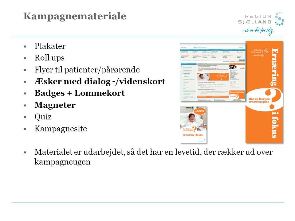 Kampagnemateriale Plakater Roll ups Flyer til patienter/pårørende Æsker med dialog -/videnskort Badges + Lommekort Magneter Quiz Kampagnesite Materialet er udarbejdet, så det har en levetid, der rækker ud over kampagneugen