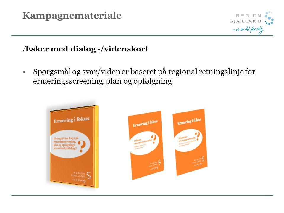 Kampagnemateriale Æsker med dialog -/videnskort Spørgsmål og svar/viden er baseret på regional retningslinje for ernæringsscreening, plan og opfølgning