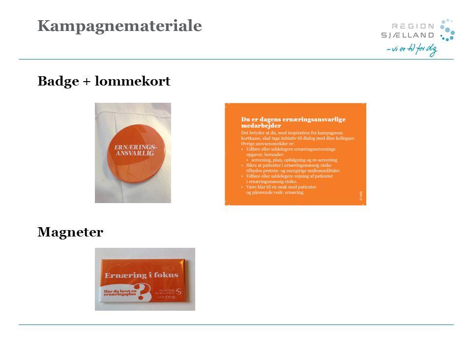 Kampagnemateriale Badge + lommekort Magneter