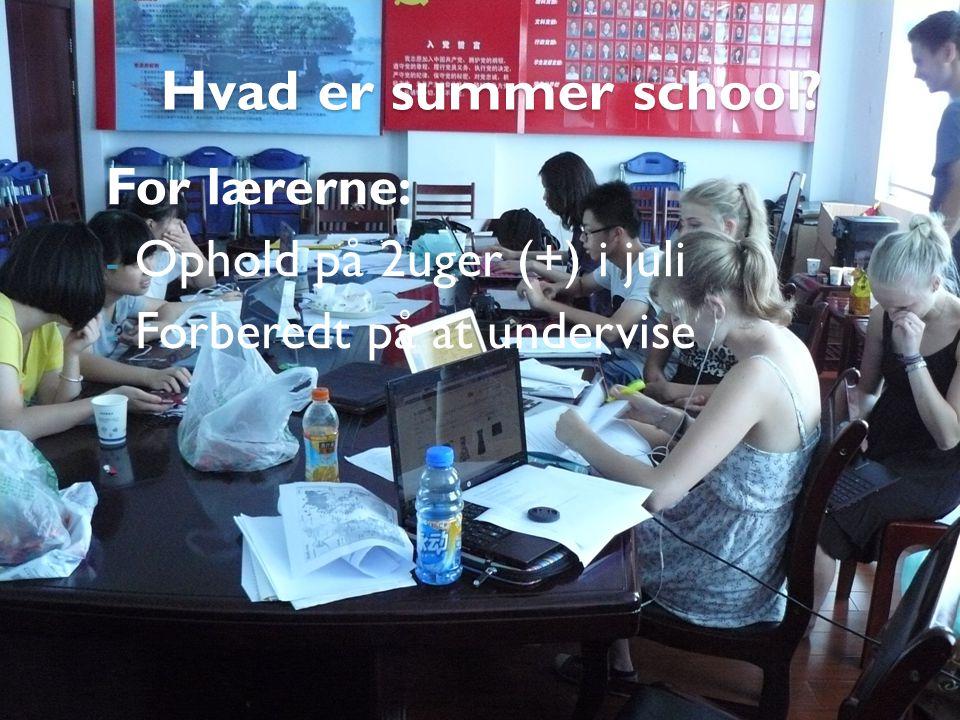 Hvad er summer school For lærerne: - Ophold på 2uger (+) i juli - Forberedt på at undervise