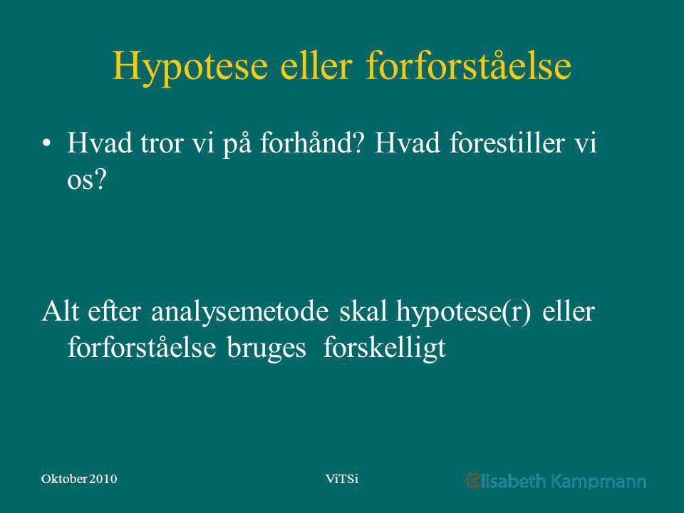 Oktober 2010ViTSi Hypotese eller forforståelse Hvad tror vi på forhånd.