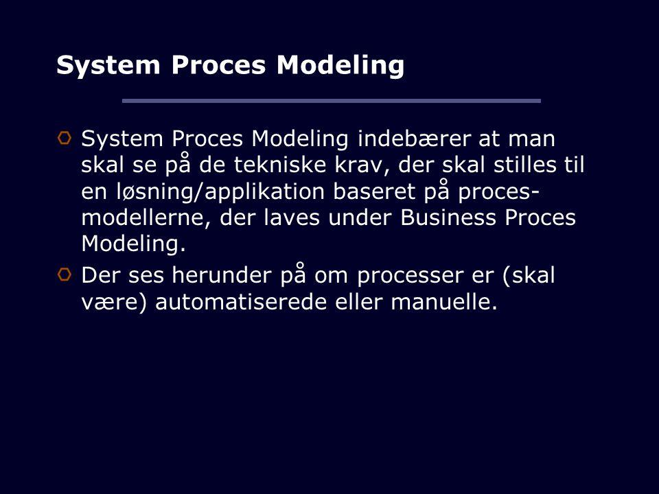 System Proces Modeling System Proces Modeling indebærer at man skal se på de tekniske krav, der skal stilles til en løsning/applikation baseret på proces- modellerne, der laves under Business Proces Modeling.