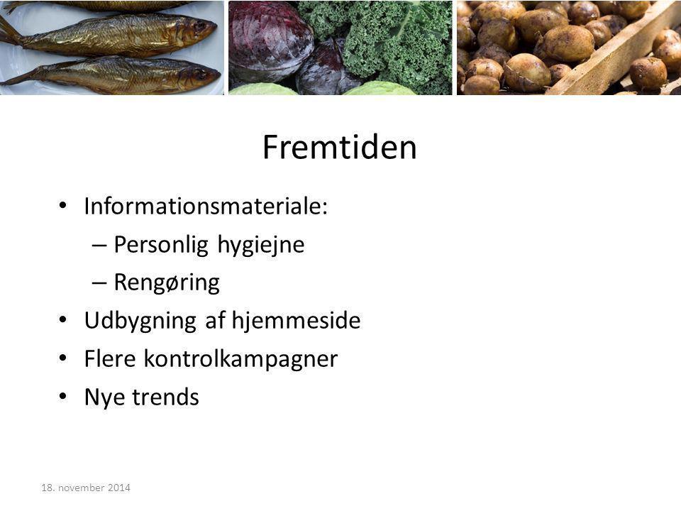 Fremtiden Informationsmateriale: – Personlig hygiejne – Rengøring Udbygning af hjemmeside Flere kontrolkampagner Nye trends 18.