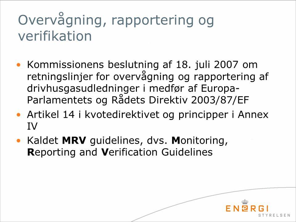 Overvågning, rapportering og verifikation Kommissionens beslutning af 18.