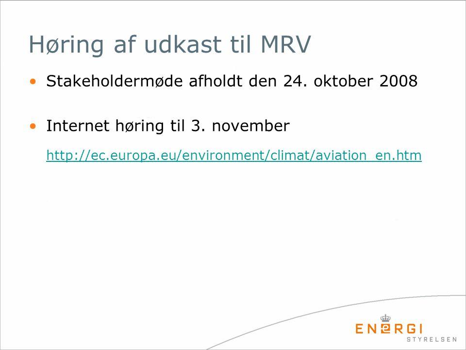 Høring af udkast til MRV Stakeholdermøde afholdt den 24.