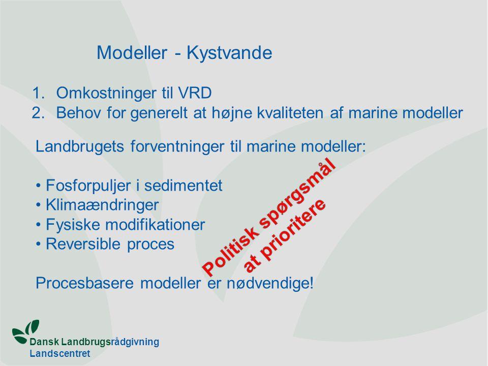 Dansk Landbrugsrådgivning Landscentret Modeller - Kystvande 1.Omkostninger til VRD 2.Behov for generelt at højne kvaliteten af marine modeller Landbrugets forventninger til marine modeller: Fosforpuljer i sedimentet Klimaændringer Fysiske modifikationer Reversible proces Procesbasere modeller er nødvendige!