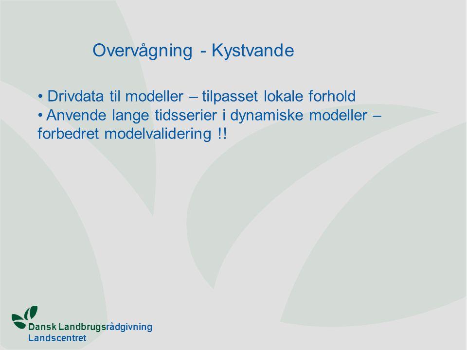 Dansk Landbrugsrådgivning Landscentret Overvågning - Kystvande Drivdata til modeller – tilpasset lokale forhold Anvende lange tidsserier i dynamiske modeller – forbedret modelvalidering !!