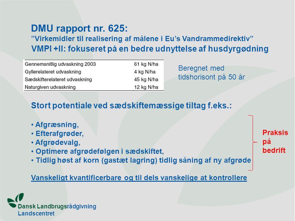 Dansk Landbrugsrådgivning Landscentret Plan & Miljø VMPI +II: fokuseret på en bedre udnyttelse af husdyrgødning Stort potentiale ved sædskiftemæssige tiltag f.eks.: Afgræsning, Efterafgrøder, Afgrødevalg, Optimere afgrødefølgen i sædskiftet, Tidlig høst af korn (gastæt lagring) tidlig såning af ny afgrøde Vanskeligt kvantificerbare og til dels vanskelige at kontrollere DMU rapport nr.