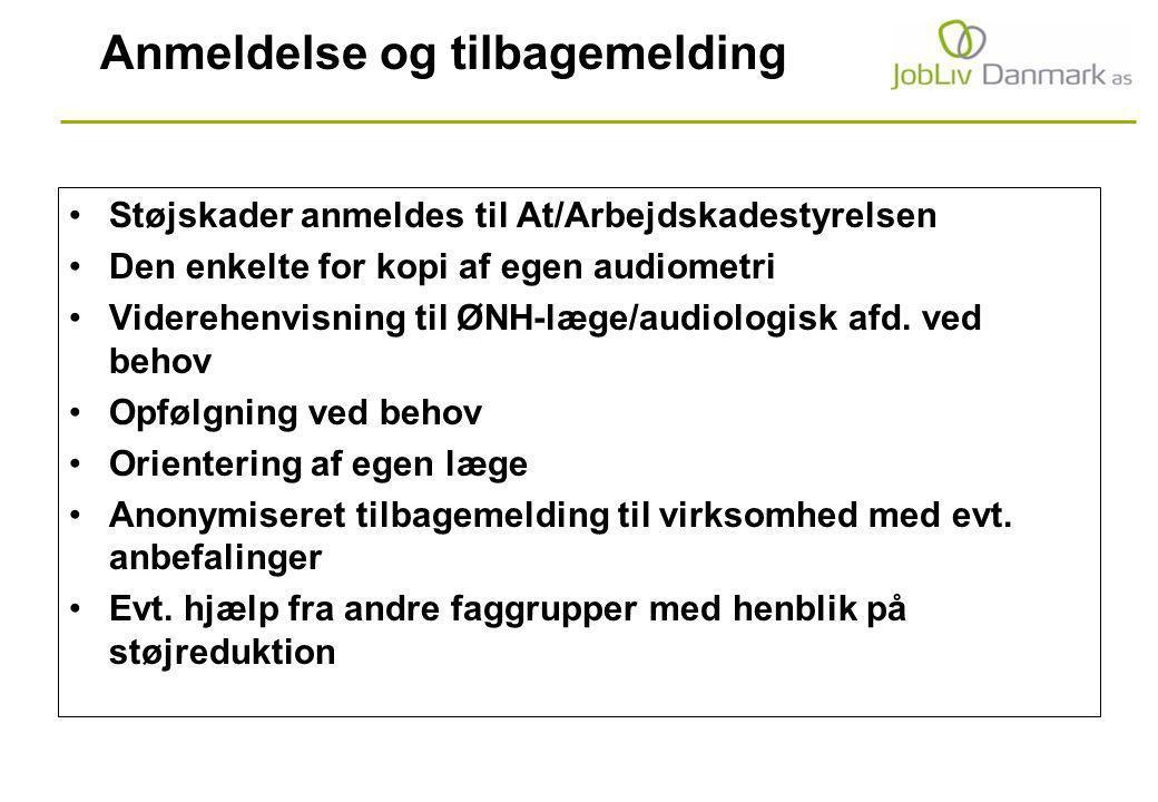 Anmeldelse og tilbagemelding Støjskader anmeldes til At/Arbejdskadestyrelsen Den enkelte for kopi af egen audiometri Viderehenvisning til ØNH-læge/audiologisk afd.