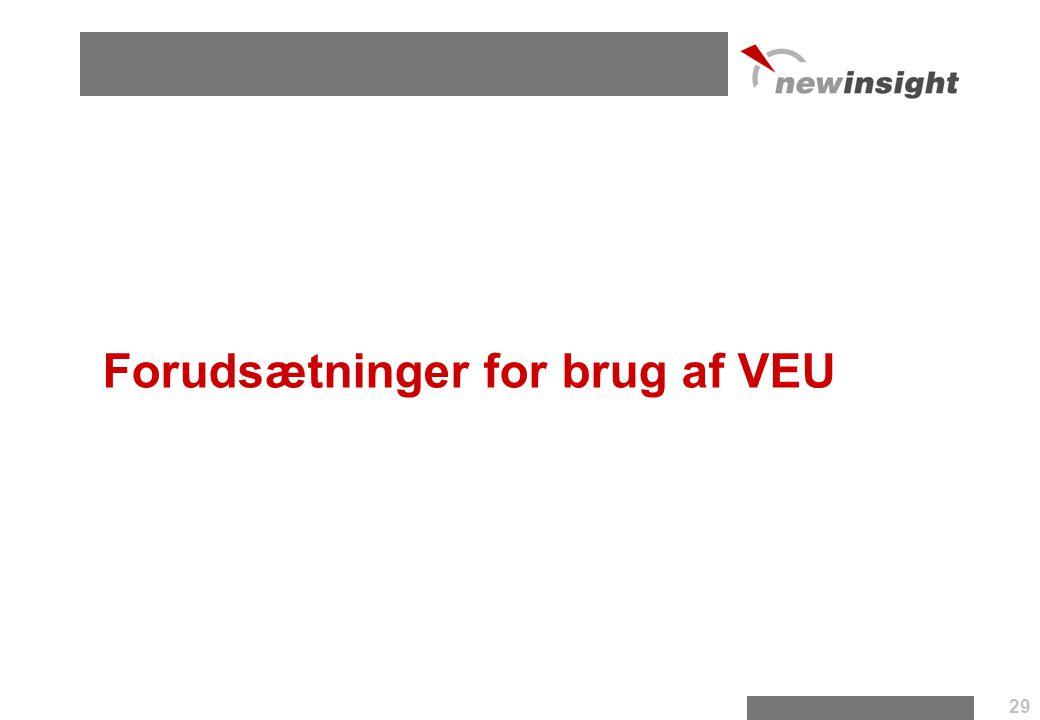 Forudsætninger for brug af VEU 29