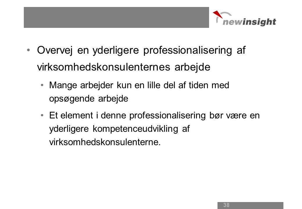 Overvej en yderligere professionalisering af virksomhedskonsulenternes arbejde Mange arbejder kun en lille del af tiden med opsøgende arbejde Et element i denne professionalisering bør være en yderligere kompetenceudvikling af virksomhedskonsulenterne.