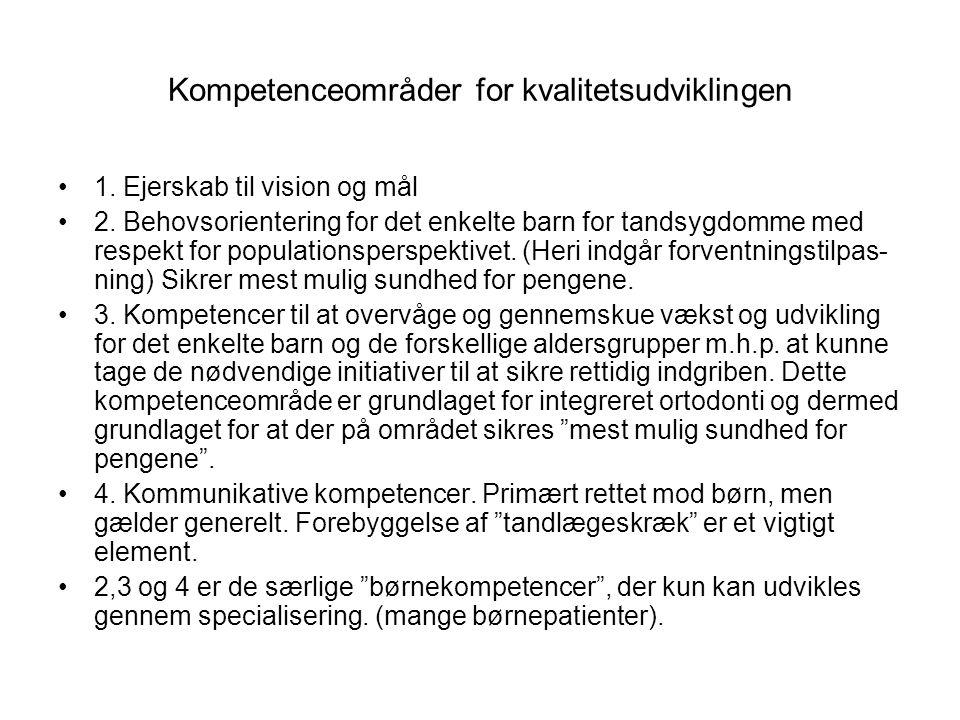 Kompetenceområder for kvalitetsudviklingen 1. Ejerskab til vision og mål 2.