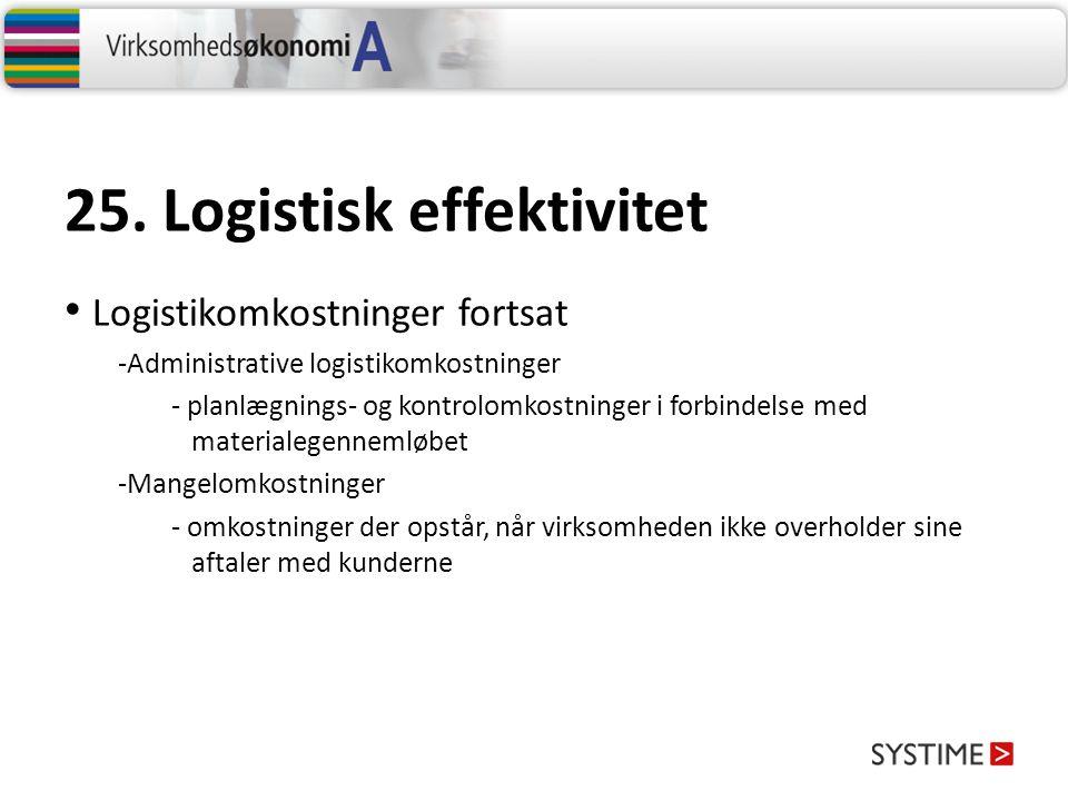 25. Logistisk effektivitet Forbedring af logistisk effektivitet
