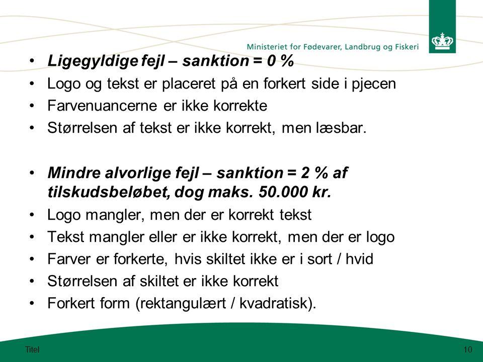 Ligegyldige fejl – sanktion = 0 % Logo og tekst er placeret på en forkert side i pjecen Farvenuancerne er ikke korrekte Størrelsen af tekst er ikke korrekt, men læsbar.