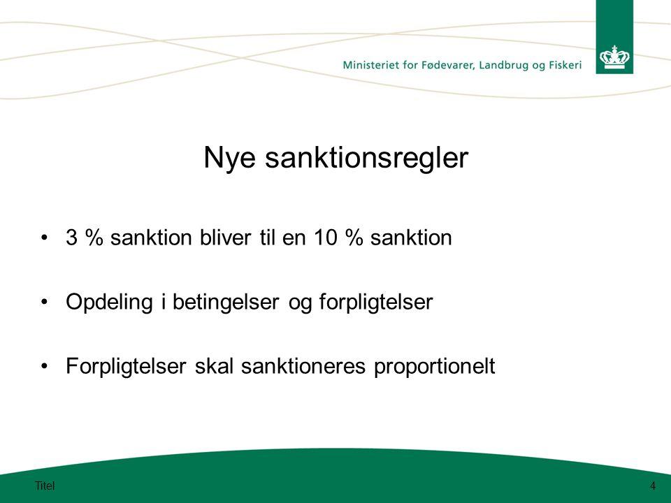 Nye sanktionsregler 3 % sanktion bliver til en 10 % sanktion Opdeling i betingelser og forpligtelser Forpligtelser skal sanktioneres proportionelt Titel4
