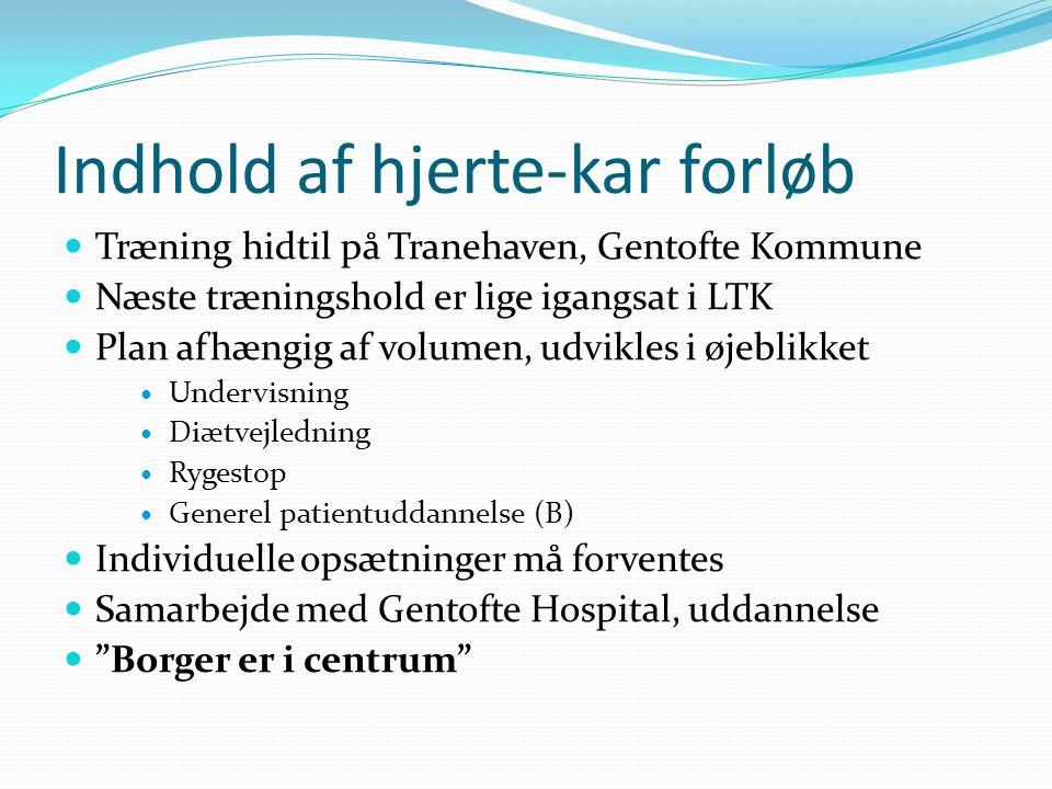 Indhold af hjerte-kar forløb Træning hidtil på Tranehaven, Gentofte Kommune Næste træningshold er lige igangsat i LTK Plan afhængig af volumen, udvikles i øjeblikket Undervisning Diætvejledning Rygestop Generel patientuddannelse (B) Individuelle opsætninger må forventes Samarbejde med Gentofte Hospital, uddannelse Borger er i centrum