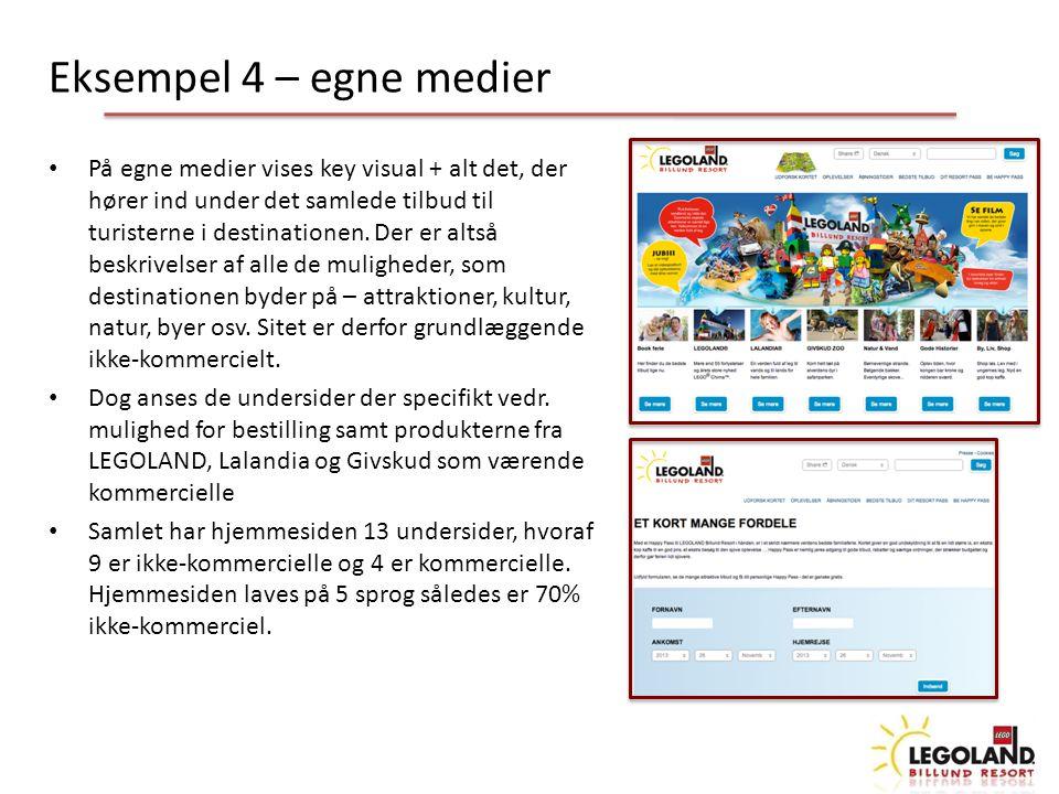 Eksempel 4 – egne medier På egne medier vises key visual + alt det, der hører ind under det samlede tilbud til turisterne i destinationen.