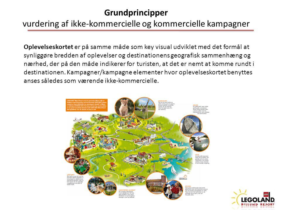 Grundprincipper vurdering af ikke-kommercielle og kommercielle kampagner Oplevelseskortet er på samme måde som key visual udviklet med det formål at synliggøre bredden af oplevelser og destinationens geografisk sammenhæng og nærhed, der på den måde indikerer for turisten, at det er nemt at komme rundt i destinationen.