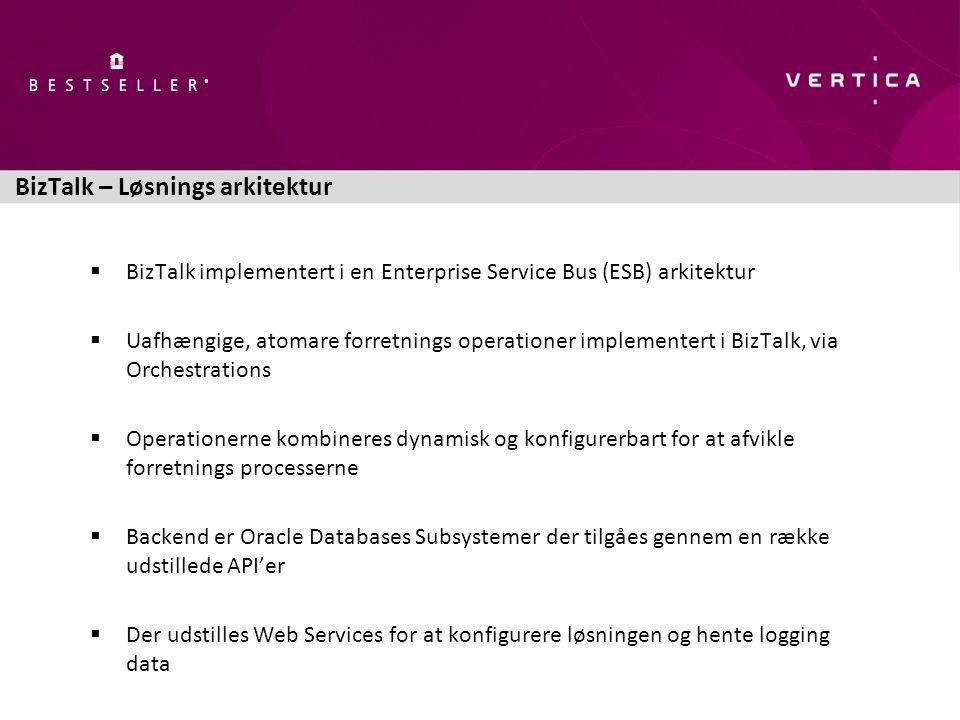 BizTalk – Løsnings arkitektur  BizTalk implementert i en Enterprise Service Bus (ESB) arkitektur  Uafhængige, atomare forretnings operationer implementert i BizTalk, via Orchestrations  Operationerne kombineres dynamisk og konfigurerbart for at afvikle forretnings processerne  Backend er Oracle Databases Subsystemer der tilgåes gennem en række udstillede API'er  Der udstilles Web Services for at konfigurere løsningen og hente logging data