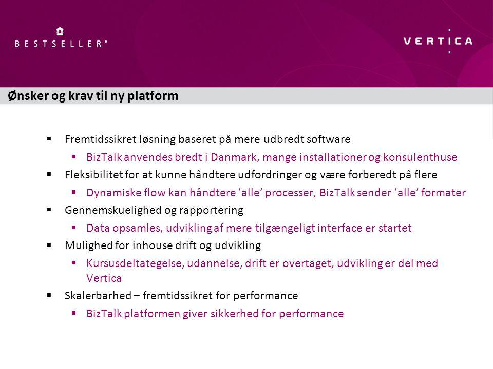Ønsker og krav til ny platform  Fremtidssikret løsning baseret på mere udbredt software  BizTalk anvendes bredt i Danmark, mange installationer og konsulenthuse  Fleksibilitet for at kunne håndtere udfordringer og være forberedt på flere  Dynamiske flow kan håndtere 'alle' processer, BizTalk sender 'alle' formater  Gennemskuelighed og rapportering  Data opsamles, udvikling af mere tilgængeligt interface er startet  Mulighed for inhouse drift og udvikling  Kursusdeltategelse, udannelse, drift er overtaget, udvikling er del med Vertica  Skalerbarhed – fremtidssikret for performance  BizTalk platformen giver sikkerhed for performance