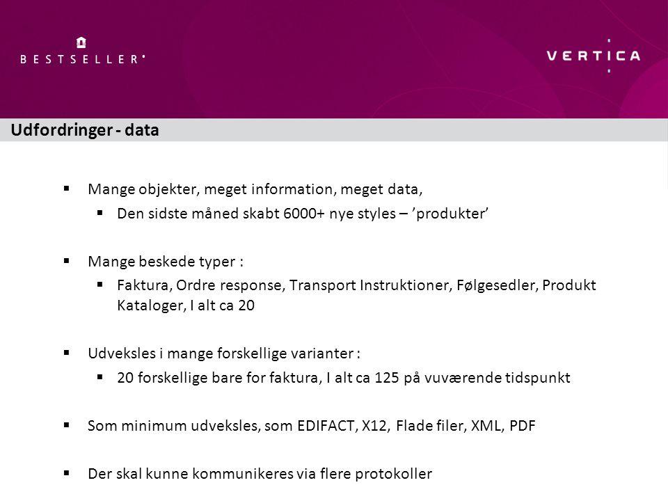 Udfordringer - data  Mange objekter, meget information, meget data,  Den sidste måned skabt 6000+ nye styles – 'produkter'  Mange beskede typer :  Faktura, Ordre response, Transport Instruktioner, Følgesedler, Produkt Kataloger, I alt ca 20  Udveksles i mange forskellige varianter :  20 forskellige bare for faktura, I alt ca 125 på vuværende tidspunkt  Som minimum udveksles, som EDIFACT, X12, Flade filer, XML, PDF  Der skal kunne kommunikeres via flere protokoller