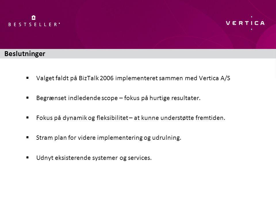 Beslutninger  Valget faldt på BizTalk 2006 implementeret sammen med Vertica A/S  Begrænset indledende scope – fokus på hurtige resultater.