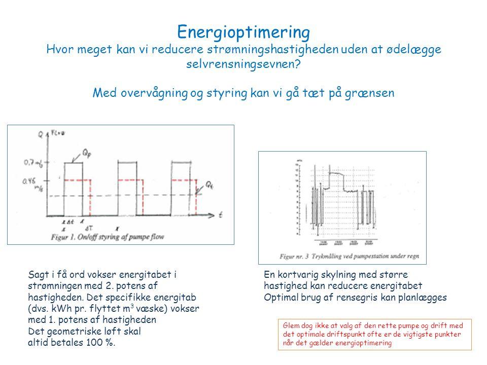 Energioptimering Hvor meget kan vi reducere strømningshastigheden uden at ødelægge selvrensningsevnen.