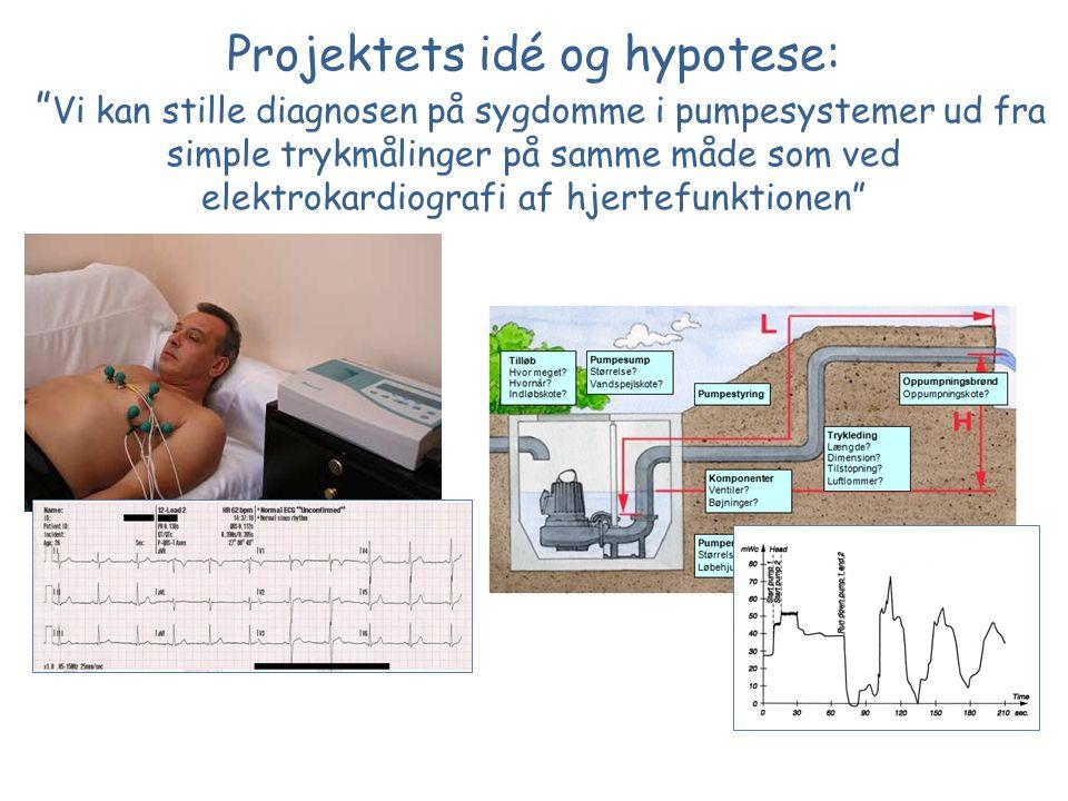 Projektets idé og hypotese: Vi kan stille diagnosen på sygdomme i pumpesystemer ud fra simple trykmålinger på samme måde som ved elektrokardiografi af hjertefunktionen