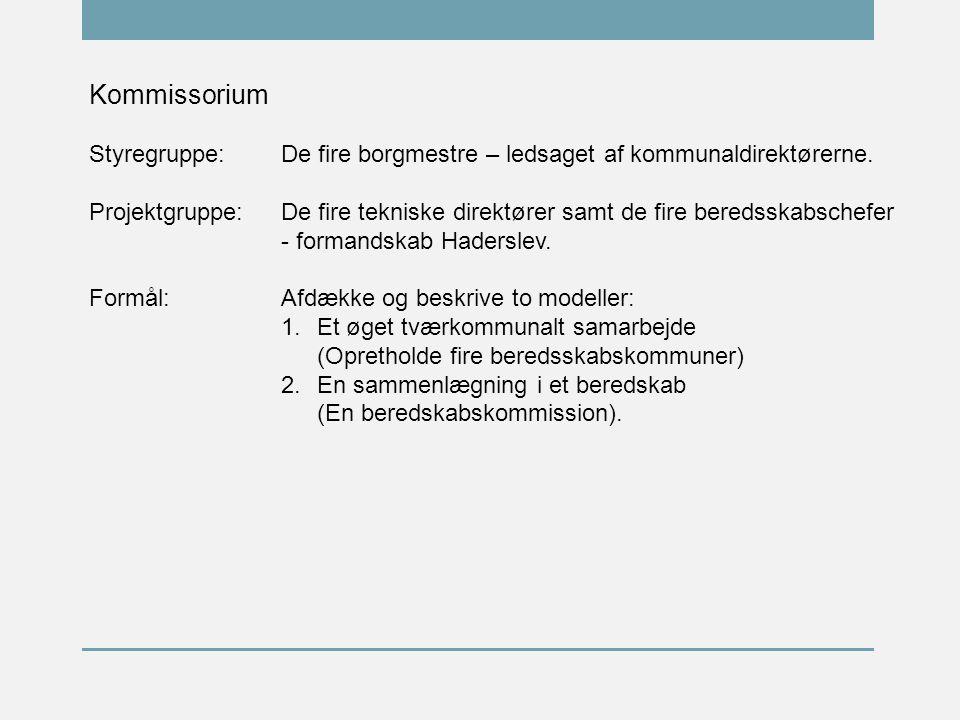 Kommissorium Styregruppe:De fire borgmestre – ledsaget af kommunaldirektørerne.