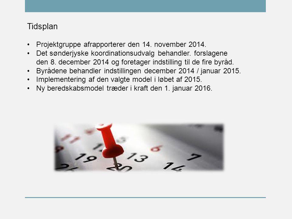 Tidsplan Projektgruppe afrapporterer den 14. november 2014.