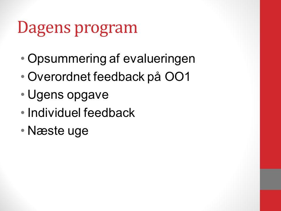 Dagens program Opsummering af evalueringen Overordnet feedback på OO1 Ugens opgave Individuel feedback Næste uge