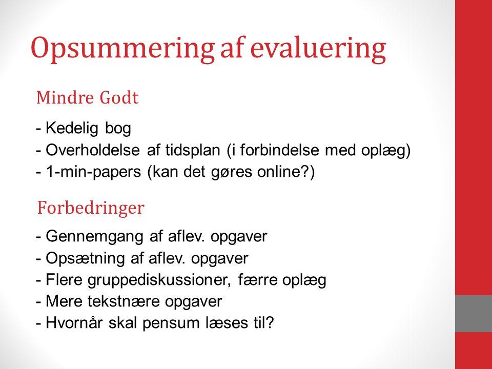 Opsummering af evaluering - Kedelig bog - Overholdelse af tidsplan (i forbindelse med oplæg) - 1-min-papers (kan det gøres online ) - Gennemgang af aflev.