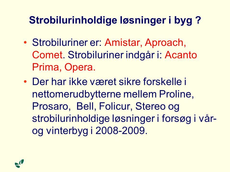 Strobilurinholdige løsninger i byg . Strobiluriner er: Amistar, Aproach, Comet.