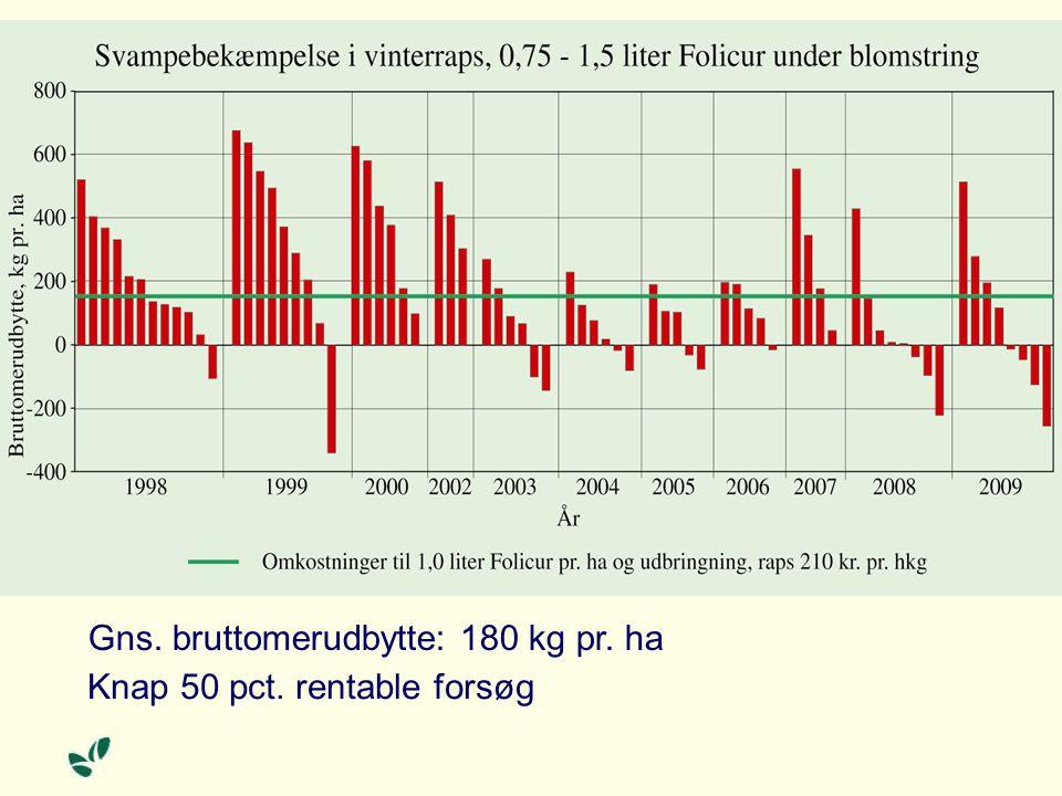 Gns. bruttomerudbytte: 180 kg pr. ha Knap 50 pct. rentable forsøg