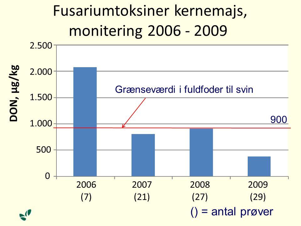 () = antal prøver 0 500 1.000 1.500 2.000 2.500 2006 (7) 2007 (21) 2008 (27) 2009 (29) DON, µg/kg Fusariumtoksiner kernemajs, monitering 2006 - 2009 Grænseværdi i fuldfoder til svin 900