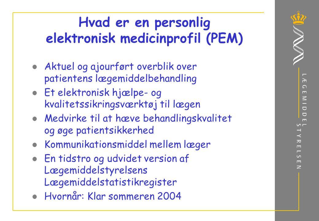 Hvad er en personlig elektronisk medicinprofil (PEM) Aktuel og ajourført overblik over patientens lægemiddelbehandling Et elektronisk hjælpe- og kvalitetssikringsværktøj til lægen Medvirke til at hæve behandlingskvalitet og øge patientsikkerhed Kommunikationsmiddel mellem læger En tidstro og udvidet version af Lægemiddelstyrelsens Lægemiddelstatistikregister Hvornår: Klar sommeren 2004