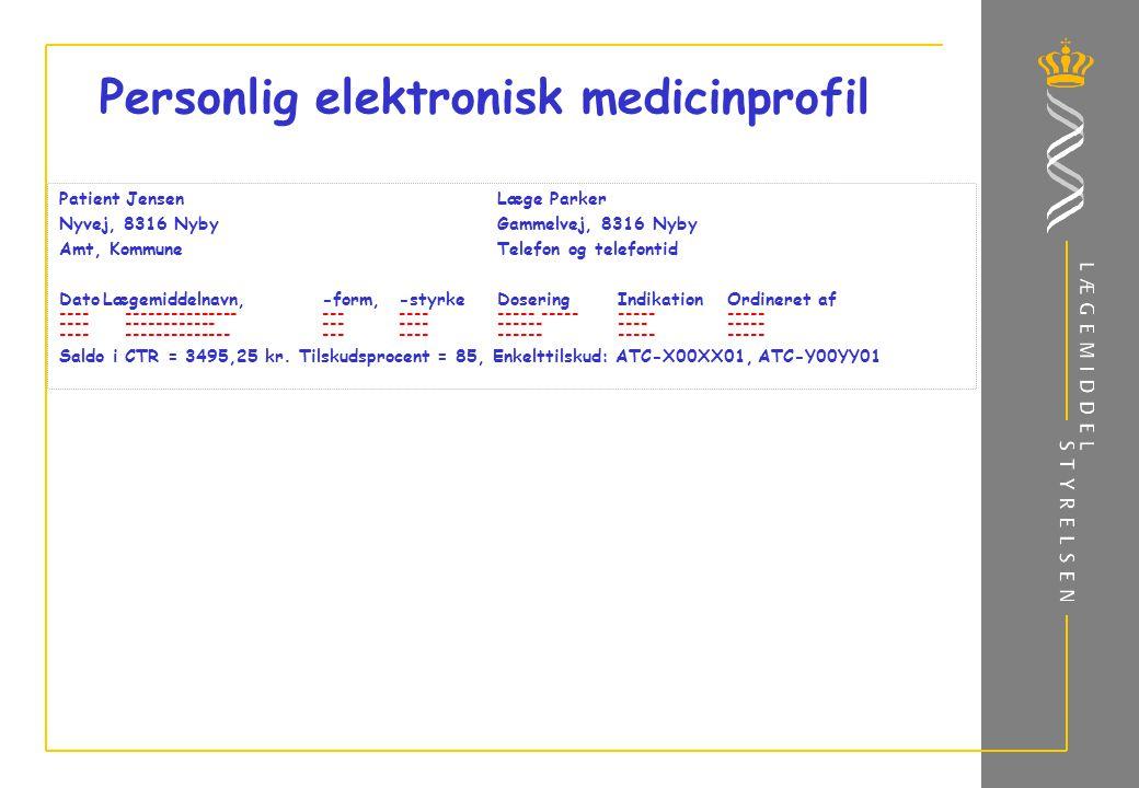 Personlig elektronisk medicinprofil Patient JensenLæge Parker Nyvej, 8316 NybyGammelvej, 8316 Nyby Amt, KommuneTelefon og telefontid DatoLægemiddelnavn,-form,-styrkeDoseringIndikationOrdineret af ---------------------------------------------- -------------------------------------- ----------------------------------------- Saldo i CTR = 3495,25 kr.