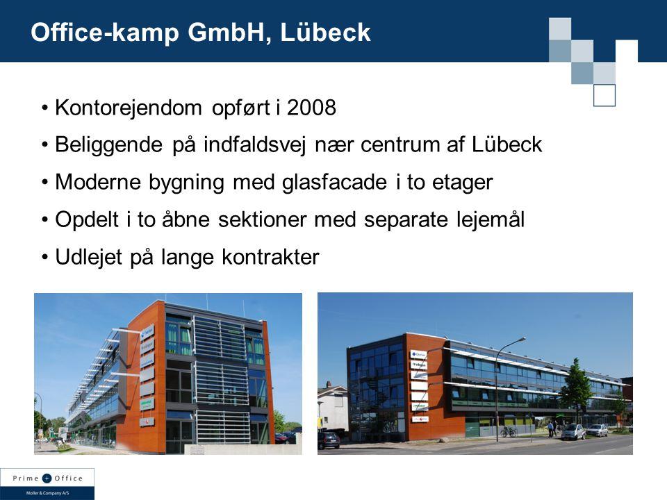 Kontorejendom opført i 2008 Beliggende på indfaldsvej nær centrum af Lübeck Moderne bygning med glasfacade i to etager Opdelt i to åbne sektioner med separate lejemål Udlejet på lange kontrakter Office-kamp GmbH, Lübeck