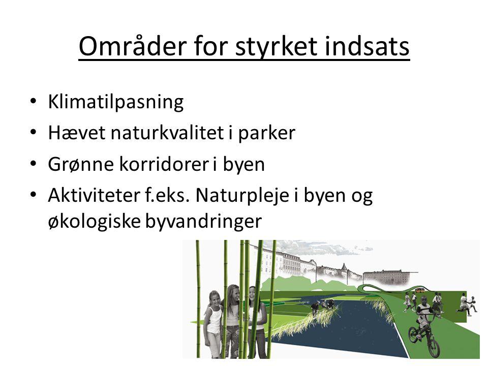 Områder for styrket indsats Klimatilpasning Hævet naturkvalitet i parker Grønne korridorer i byen Aktiviteter f.eks.
