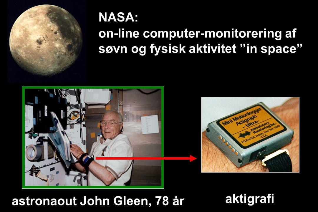 on-line computer-monitorering af søvn og fysisk aktivitet in space aktigrafi astronaout John Gleen, 78 år NASA: