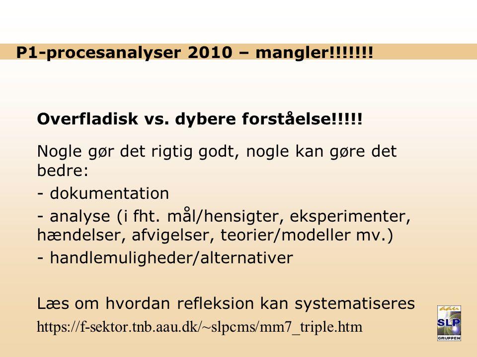 P1-procesanalyser 2010 – mangler!!!!!!.Overfladisk vs.