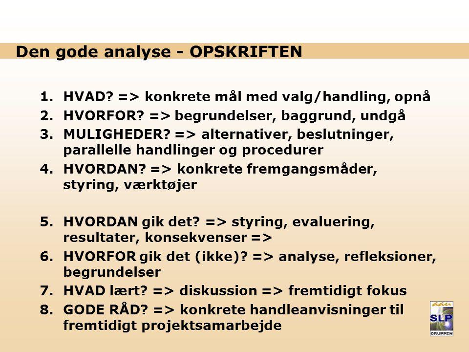 Den gode analyse - OPSKRIFTEN 1.HVAD.=> konkrete mål med valg/handling, opnå 2.HVORFOR.