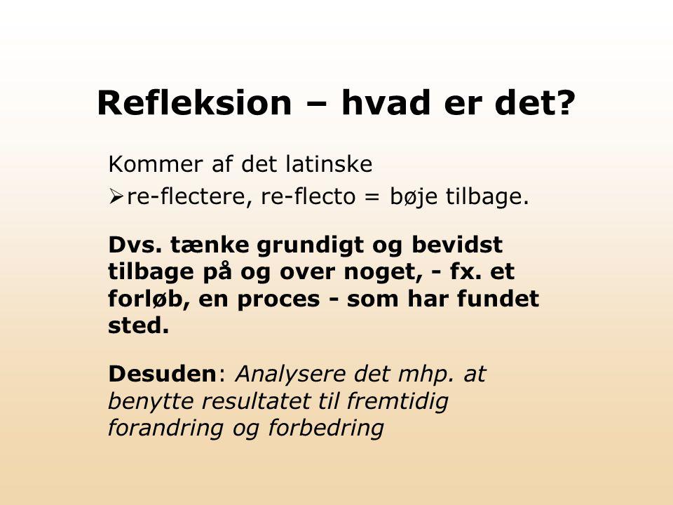 Refleksion – hvad er det.Kommer af det latinske  re-flectere, re-flecto = bøje tilbage.