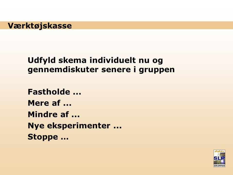Værktøjskasse Udfyld skema individuelt nu og gennemdiskuter senere i gruppen Fastholde...