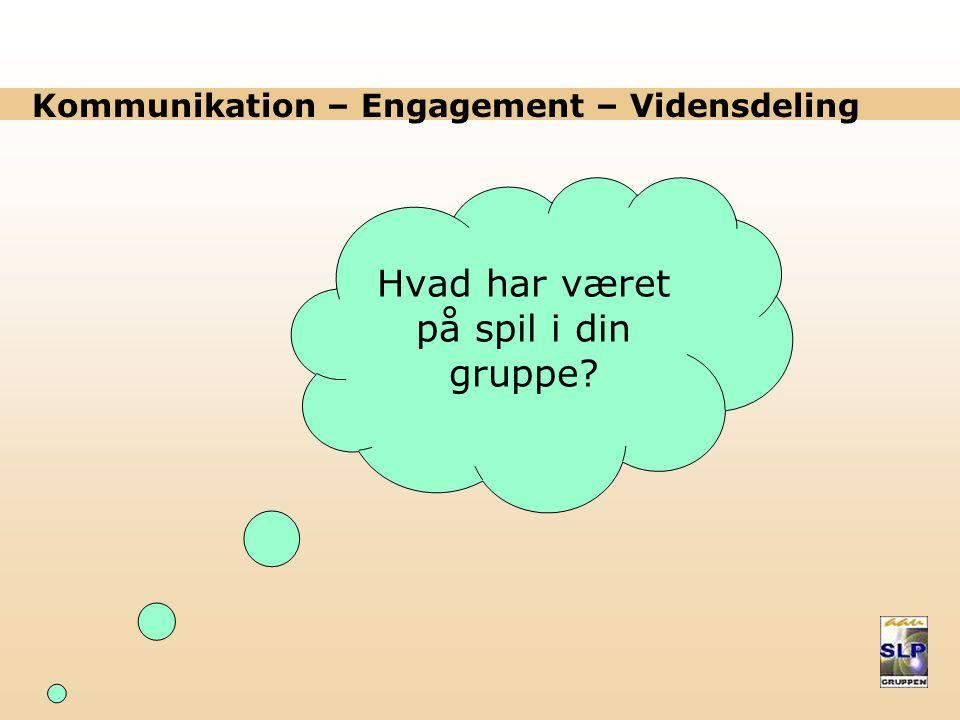 Kommunikation – Engagement – Vidensdeling Hvad har været på spil i din gruppe?